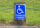 The Sign Of Disabled Parking On The Street Side, Useful For Supporting Disability Person.