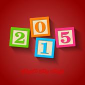 Happy New Year 2015 card - wooden blocks. Vector.