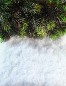 Winter Christmas background. Christmas boarder with fir tree branch with cones on the snow. Close up with copy space. Winter holidays concept.