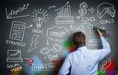 Businessman drawing business concept on wall for creativity, imagination and inspiration