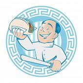 greek man is serving gyros or doner