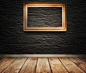 Old Wooden Frame On A Wall.