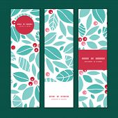 Vector christmas holly berries vertical banners set pattern background