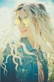 stock photo of hippy  - Fashion portrait of young hippie woman in summer sunny day - JPG
