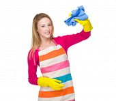 Housewife with kitchen gloves and towel