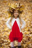 Portrait of beautiful little girl, against background of autumn park