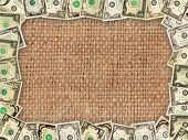 image of sack dollar  - Frame from American dollars on the background of sacking - JPG