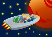 Family in spaceship going to Mars