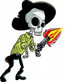 Cartoon skeleton cowboy with gun