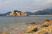 Luxury Island Of Sveti Stefan Mountains In The Background