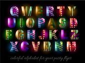 Funny Colorful Alphabet for party flyers or invitation cards. A lot of different colors easy to change in order to get infinite variants!