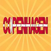Copenhagen flag text with sunburst vector illustration