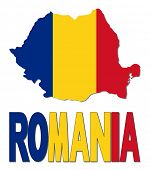 Romania map flag and text illustration