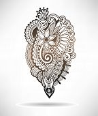 line art ornate flower design, ukrainian ethnic style, paisley h