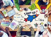 People and Startup Business Concept with Photo Illustrations