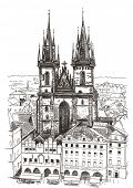 Vector drawing of Church Our Lady before Tyn in Prague, Czech Republic