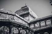 Detail Of Crystal Palace In Retiro Park Of Madrid, In Black And White