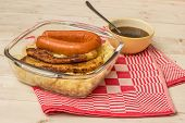 pic of pork belly  - Typical dutch dish zuurkool with sauerkraut pork belly smoked sausage and gravy - JPG