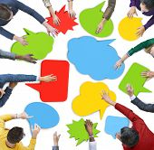 Multiethnic Group of People Meeting with Speech Bubble