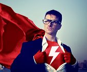 Strong Superhero Businessman Lightning Bolt Concepts