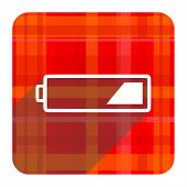 battery red flat icon isolated