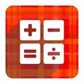 calculator red flat icon isolated