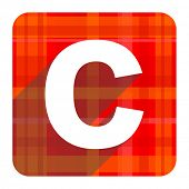 copyright red flat icon isolated