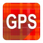 gps red flat icon isolated