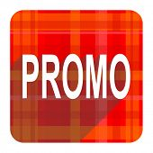 promo red flat icon isolated