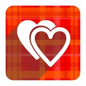 love red flat icon isolated