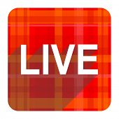 live red flat icon isolated