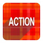 action red flat icon isolated