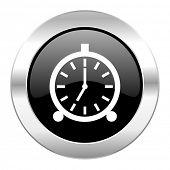 alarm black circle glossy chrome icon isolated