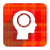 head red flat icon isolated