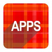 apps red flat icon isolated