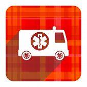 ambulance red flat icon isolated