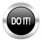 do it black circle glossy chrome icon isolated