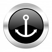 anchor black circle glossy chrome icon isolated