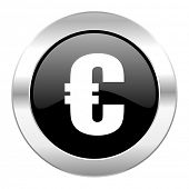 euro black circle glossy chrome icon isolated