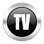 tv black circle glossy chrome icon isolated