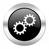gear black circle glossy chrome icon isolated