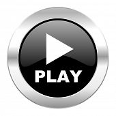 play black circle glossy chrome icon isolated