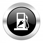 fuel black circle glossy chrome icon isolated