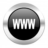 www black circle glossy chrome icon isolated