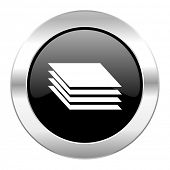 layers black circle glossy chrome icon isolated