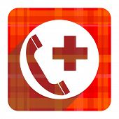 emergency call red flat icon isolated