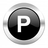 parking black circle glossy chrome icon isolated