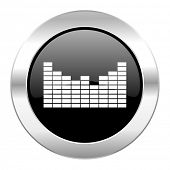 sound black circle glossy chrome icon isolated
