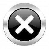 cancel black circle glossy chrome icon isolated