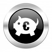 piggy bank black circle glossy chrome icon isolated